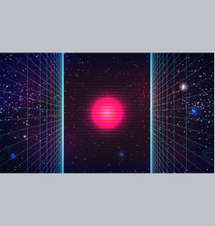 Synthwave abstract background mysterious pink sun vector