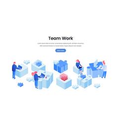 Teamwork web banner 3d template vector