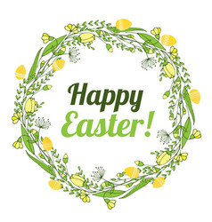 The inscription of a happy easter in a wreath of vector