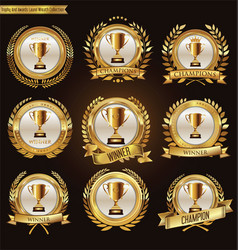 trophy and awards laurel wreath and badge vector image