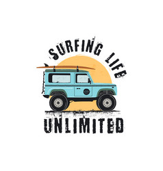 vintage surf emblem with retro woodie car surfing vector image