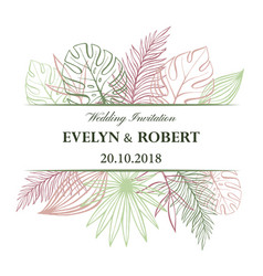 wedding invitation card in pastel colors vector image