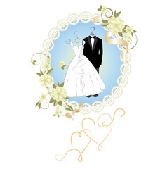 Wedding invitation card with cartoon dress of brid vector image
