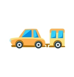 Yellow Sedan With Trailer Toy Cute Car Icon vector image