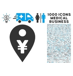 Yen Map Marker Icon with 1000 Medical Business vector