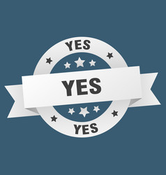 yes ribbon yes round white sign yes vector image