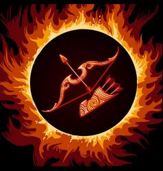 Zodiac sign of sagittarius in fire circle vector