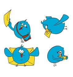 birdies of blue letters vector image vector image