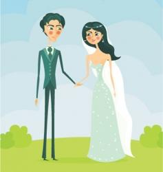 cartoon bride and groom vector image vector image