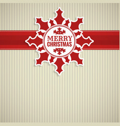 Christmas snowflake vintage card vector image vector image