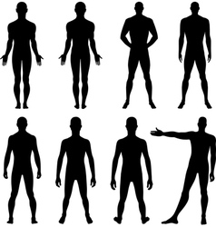 Full length front back silhouette of man vector image vector image