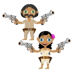 Mexican man and woman with guns character vector image