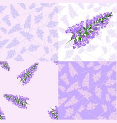 purple flowers seamless pattern vector image vector image