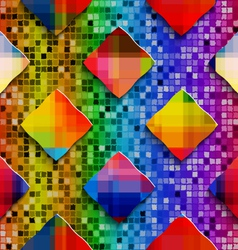Rainbow colored rectangles on rainbow colored vector image vector image