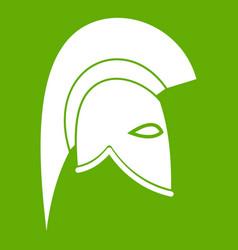 roman helmet icon green vector image vector image