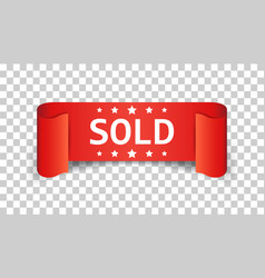 Sold ribbon icon discount sale sticker label on vector