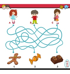 task of path maze for children vector image vector image