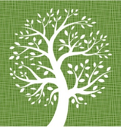 White Tree icon on Dark Green Canvas texture vector image vector image