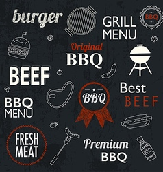 Barbecue Grill Icons and labels for any use on a vector image