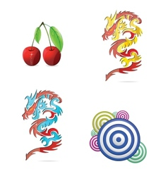 colored eco and abstract symbols set vector image vector image