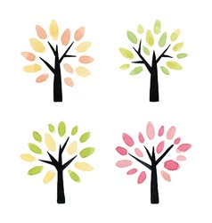 Set of watercolor trees vector image