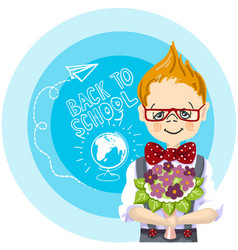 smile boy red glasses with bouquet flowers stand vector image vector image