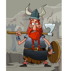 cartoon funny man Viking with a red beard vector image vector image