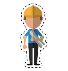 cartoon man building construction plans helmet vector image