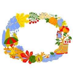 Fall season cartoon wreath vector image vector image