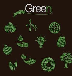 green eco icons set hand drawn vector image