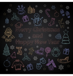 Happy New Year and Merry Christmas color set on a vector image
