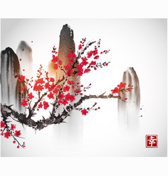 cherry sakura tree branch in blossom and mountains vector image vector image