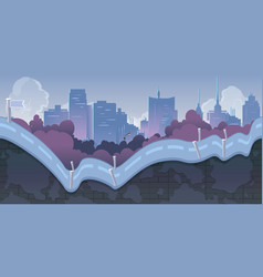 city game background with mountains and retro old vector image vector image