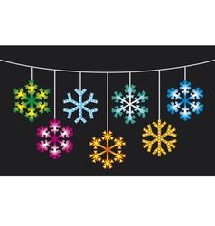 collection of snowflakes with lights vector image vector image