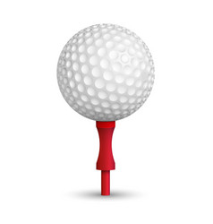 Golf ball on red stand vector image