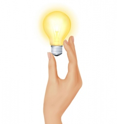 hand with bulb vector image vector image