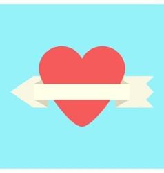 heart and arrow-ribbon icon vector image vector image
