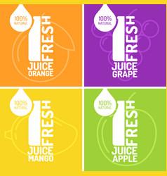 set of posters fresh juice grape orange mango vector image
