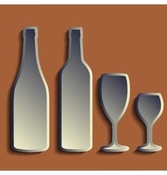 Wine bottle sign set bottle icon crockery vector image