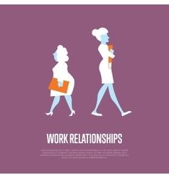 Work relationships banner with businesswomen vector image