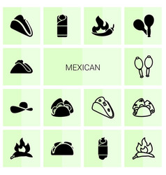 14 mexican icons vector image