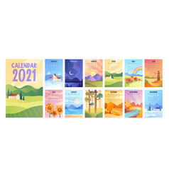 2020 calendar with bunch minimalist style vector image