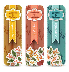autumn months banners set vector image
