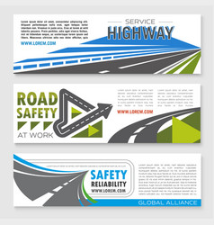 Banners set of road safety service company vector