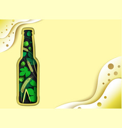 beer poster design template paper cut vector image