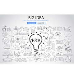 Big Idea concept with Doodle design style vector