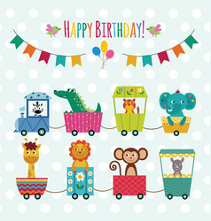 birthday card or banner with cartoon animals in vector image