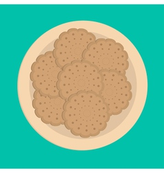 Biscuit cookie cracker on plate vector