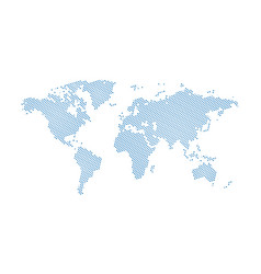 black halftone dotted blue world map dotted map vector image