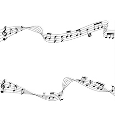 Black music notes and two chord with shadow vector image